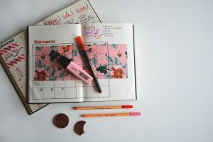 Goal setting in a bullet journal.