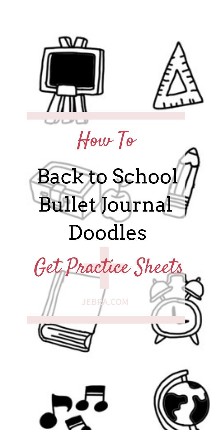Back to school doodles for bullet journal or lunchbox. Get practice sheets that make it easy to learn to draw simple doodles for adults or kids.