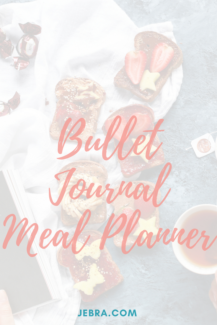 Healthy meal planning in a bujo including printables, trackers, and templates.