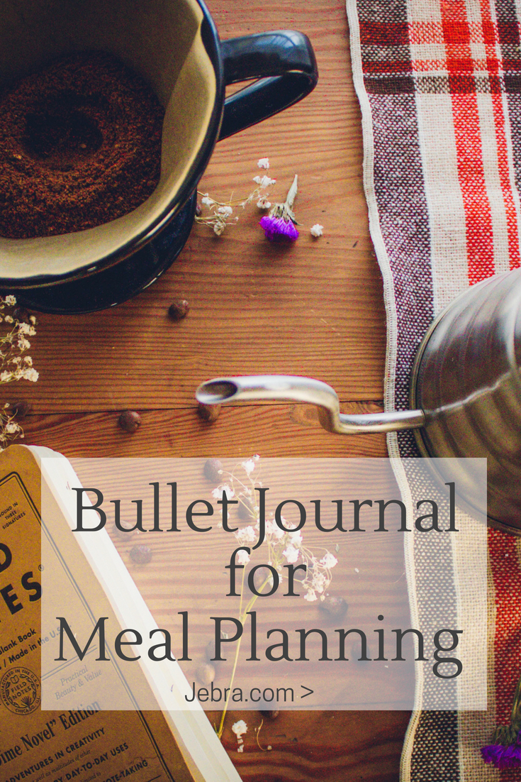 Ideas for meal planning in a bullet journal with grocer lists, menus, and recipes.