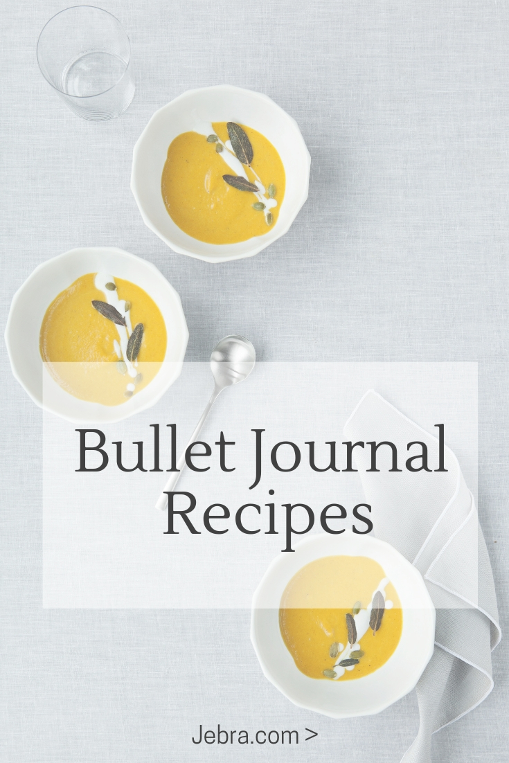 Meal plan with your bullet journal using these ideas for weekly menus and saving recipes to try and products to buy.