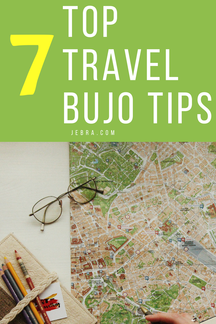 How to make a bullet journal for travel with ideas for pages, layouts, supplies.