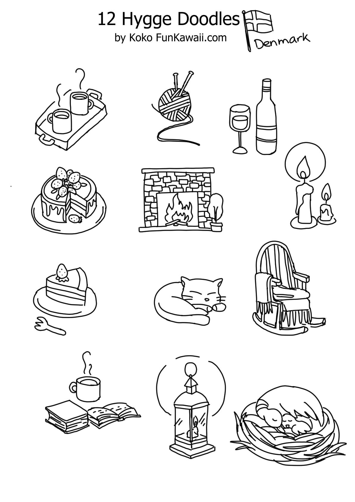 Hygge Doodles for Bullet Journal