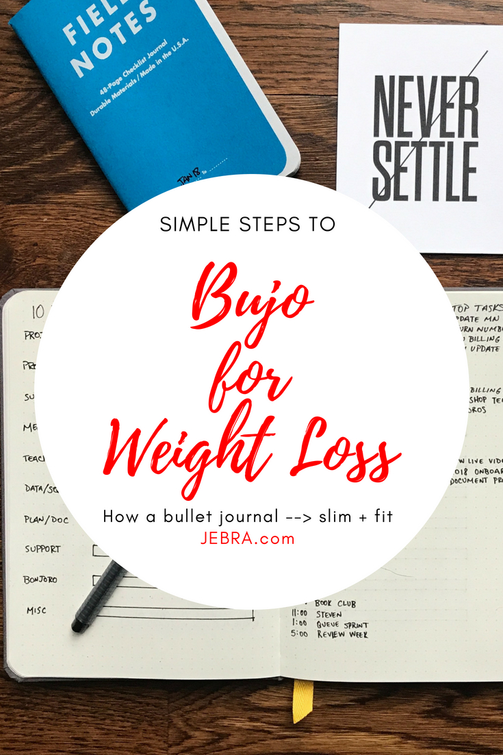 Simple ways a bullet journal can help you lose weight and get fit. Ideas for planning diet and exercise plus tracking eating and work-outs.