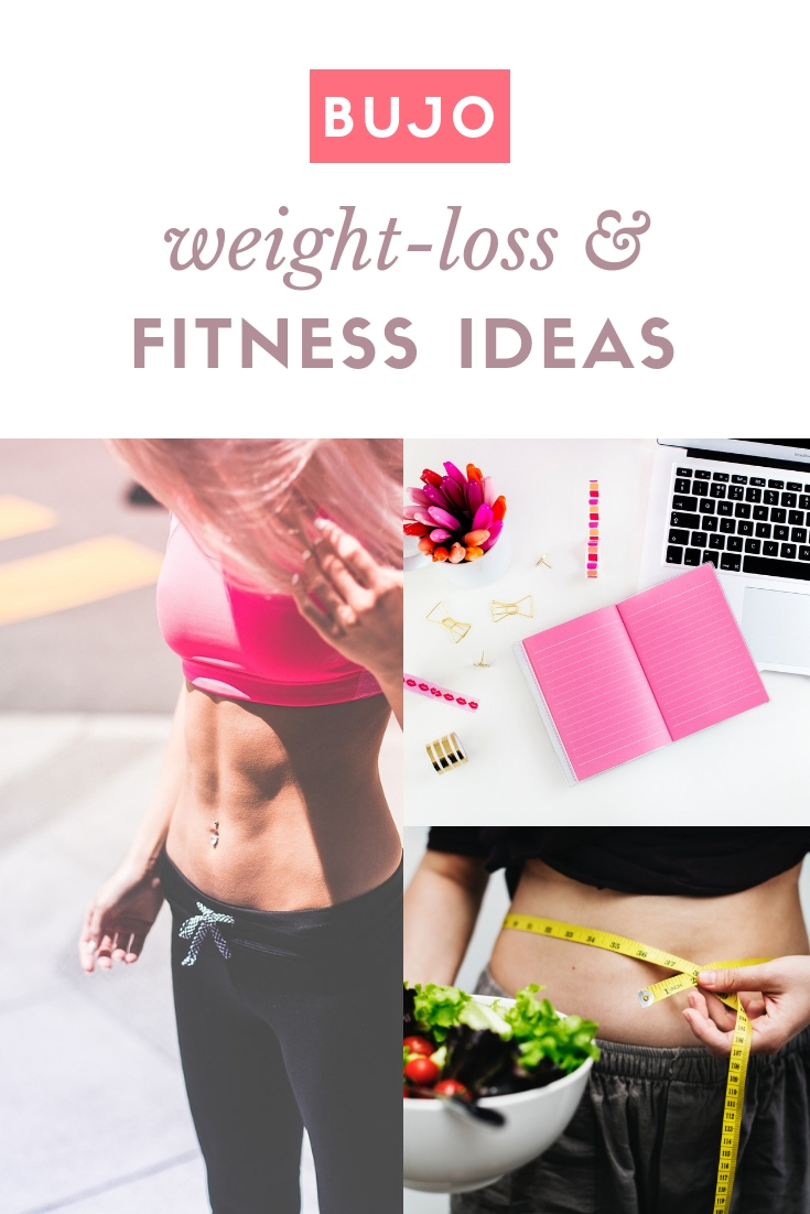 Ready to bujo on your weight loss journey? Get ideas for bullet journal page spreads, health trackers, layouts, and prompts.