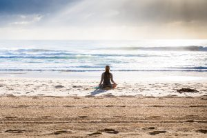 Woman in relaxed yoga pose