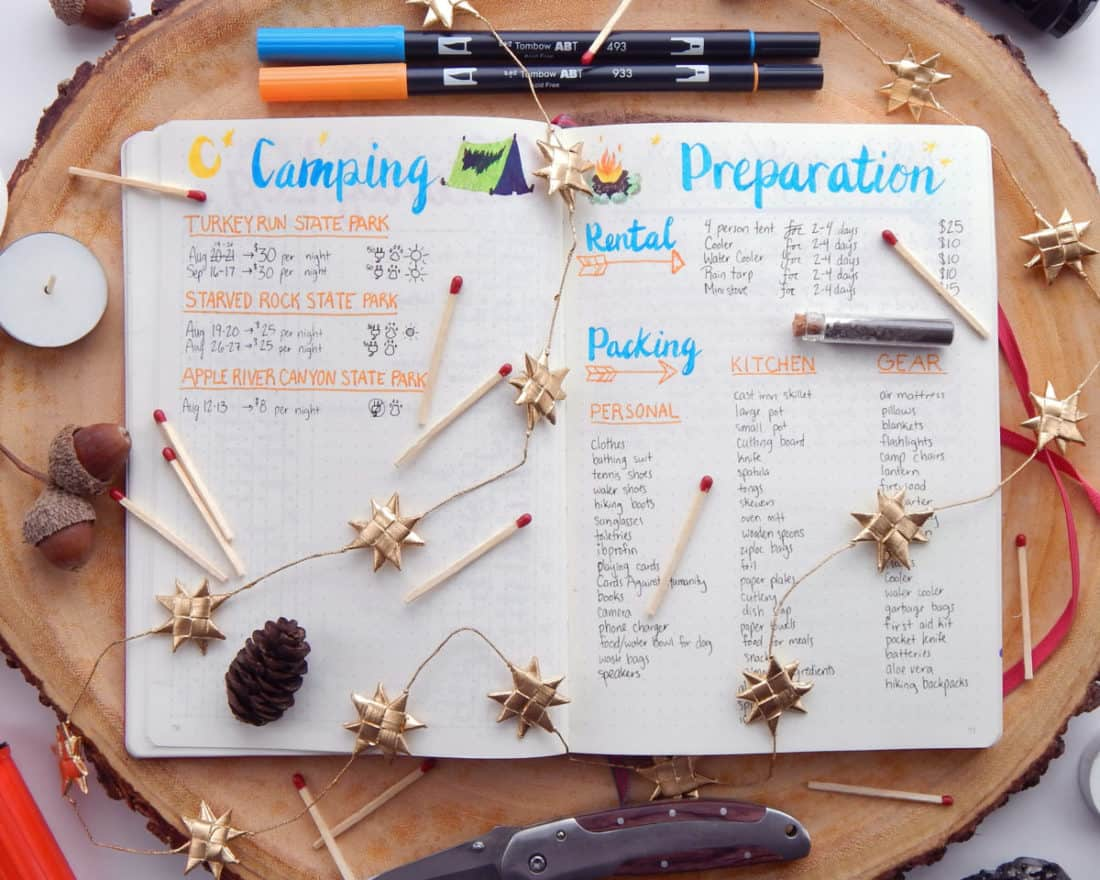 Bullet journal collection ideas - camping