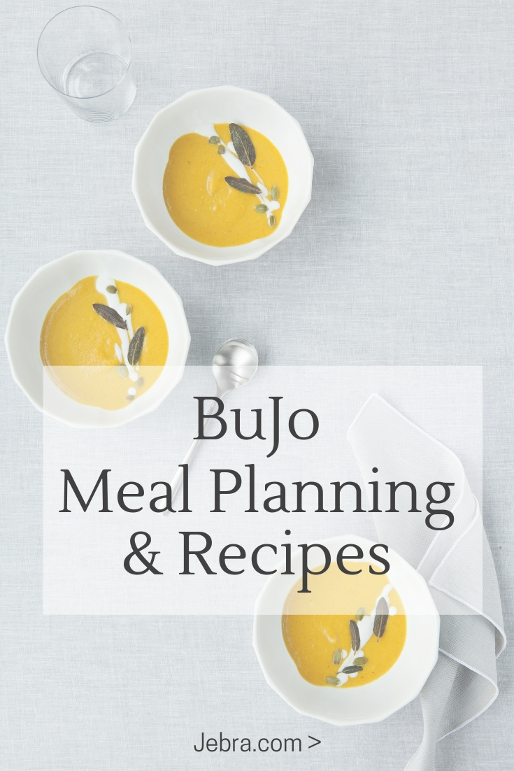 Want ideas for bullet journal meal planning? Save recipes, menus, grocery shopping lists in your BuJo.
